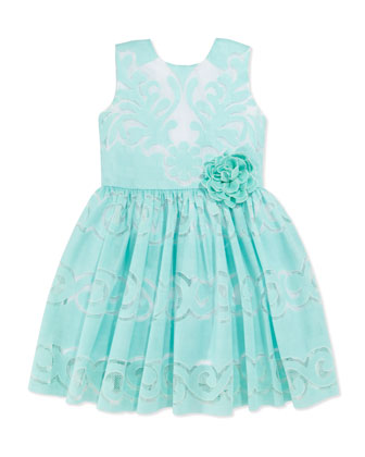 Sweet Lace Dress, Aqua, Girls' 4-6X