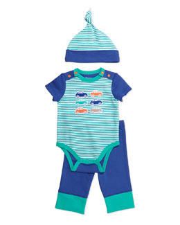 Offspring Car-Print Playsuit, Leggings and Hat Set, Blue/Green
