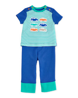 Offspring Car-Print Tee & Pant Set, Blue/Green