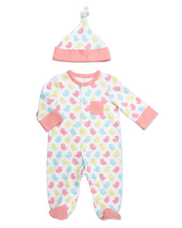 Offspring Bird-Print Footie & Hat, Open Pink, NB-9M