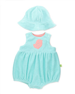 Offspring Two-Piece Terry Shortall & Hat, Aqua, 3-12 Months