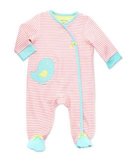 Offspring Striped Knit Bird Footie, Pink, NB-9M