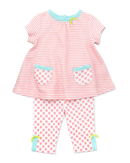 Offspring Striped Tunic & Polka-Dot Leggings, Open Pink, 3-24 Months
