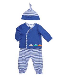 Offspring Three-Piece Car-Print Set, Blue Stripes, NM-9M
