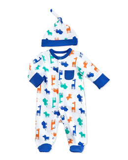 Offspring Safari-Print Footie & Hat Set, Newborn-9 Months