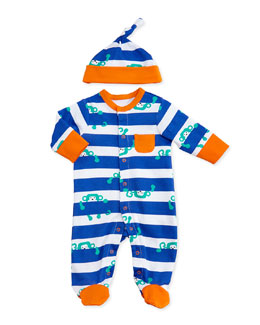 Offspring Two-Piece Striped Monkey Footie & Hat, Blue