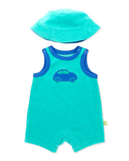 Offspring Two-Piece Terry Shortall & Hat, Green, 3-12 Months