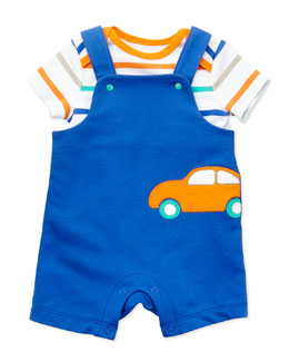 Offspring Car-Patch French-Terry Shortall Two-Piece Set, Blue, 3-24 Months