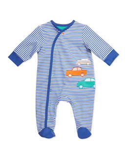 Offspring Striped Knit Car Footie, Blue, NB-9M