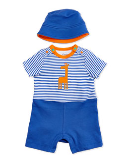 Offspring Giraffe Romper and Hat Set, Blue, 3-18 Months
