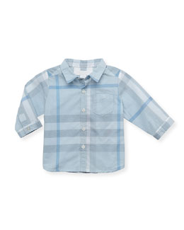Burberry Check Long-Sleeve Shirt, Light Blue, 12 Months