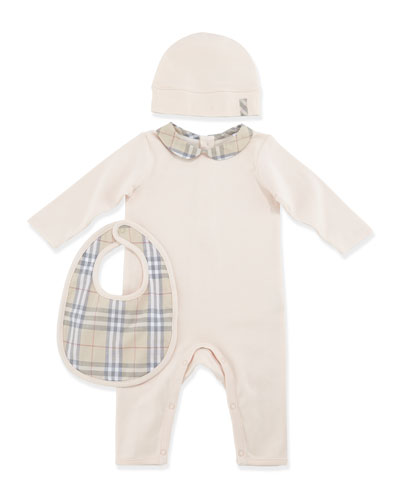 Burberry Boxed Playsuit, Hat & Bib Set, Pink, 1-18 Months