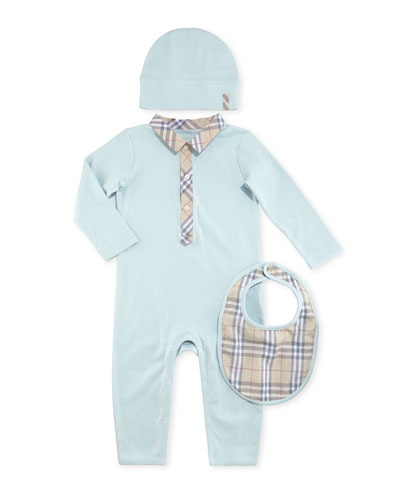 Burberry Boxed Playsuit, Hat & Bib Set, Light Blue, 1-18 Months