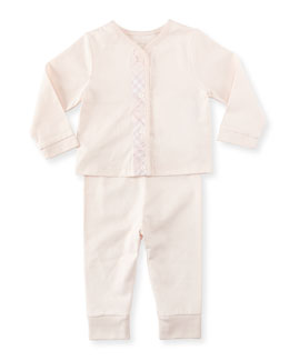 Burberry Check-Trim Knit Pajamas, Pink,  3-18 Months