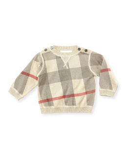 Burberry Check Crewneck Sweater, Taupe, 6-18 Months