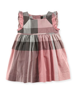 Burberry Check Ruffle-Trim Dress, Light Pink, 3-18 Months