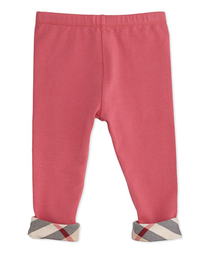 Burberry Check-Trim Leggings, Pink, 3-18 Months