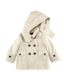 Burberry Double-Breasted Hooded Jacket, Stone, 6M-2Y