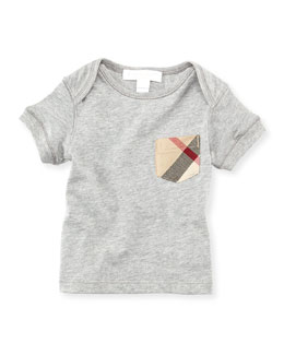 Burberry Check-Pocket Crewneck Tee, Gray, 18M-3Y