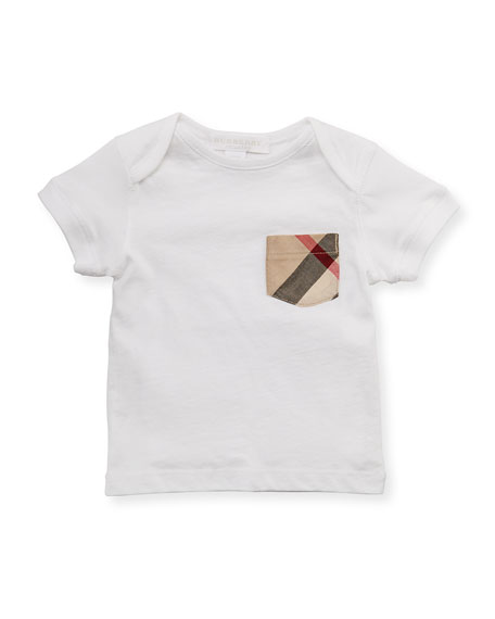 Burberry Check-Pocket Crewneck Tee, White, 3M-3Y