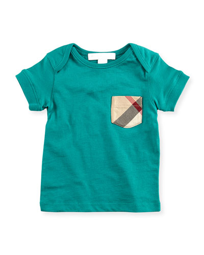 Burberry Check-Pocket Crewneck Tee, Green, 18M-3Y