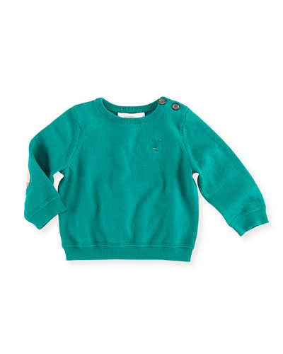 Burberry Check-Elbow-Patch Sweater, Green, 3-12 Months