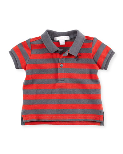 Burberry Striped Polo Shirt, Gray/Red, 2Y-3Y