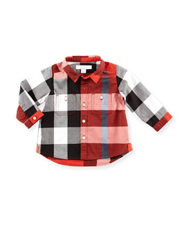 Burberry Large Check Button-Down Shirt, Red, 3M-18M