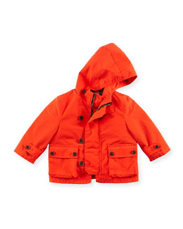 Burberry Hooded Twill Jacket, Coral, 6M-2Y
