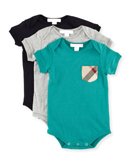 Burberry Patch-Pocket Bodysuit 3-Piece Set, 3M-18M