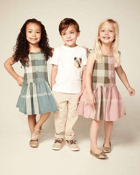Check Flutter-Sleeve Dress, Green, Girls' 6Y