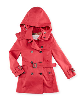 Burberry Cotton Twill Hooded Trench Coat, Pink, 6Y-10Y