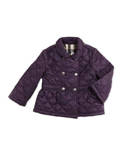 Burberry Girls' Quilted Double-Breasted Coat, Wine, 6M-2Y