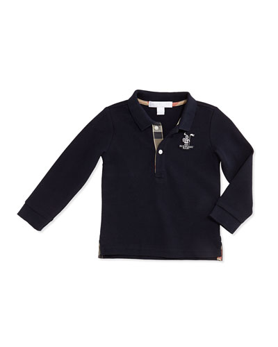 Burberry Palmer Long-Sleeve Pique-Knit Polo, Navy, 3M-3Y