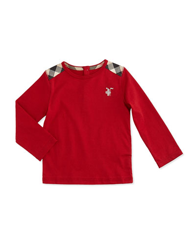 Burberry Check-Shoulder Long-Sleeve Tee, Red, 3M-18M