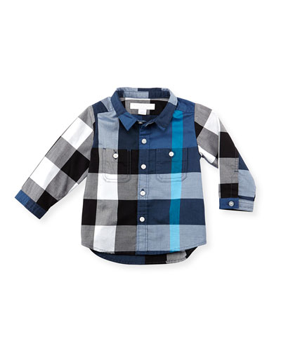 Burberry Large-Check Two-Pocket Shirt, Dark Blue, 3-18 Months