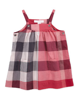 Burberry Check Cotton Sleeveless Dress, Pink, 3M-3Y