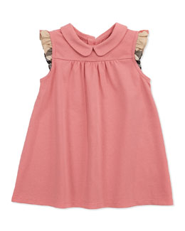 Burberry Flutter-Check-Sleeve Dress, Pink, 3M-2Y