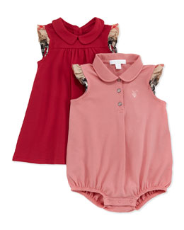 Burberry Girls' Pique Dress & Romper Set, Pink, 3-18 Months