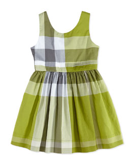 Burberry Check Dress with Back Bow, Green, Girls' 4Y-10Y