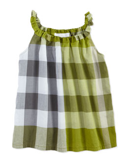 Burberry Check Tank Top, Green, Girls' 4Y-10Y