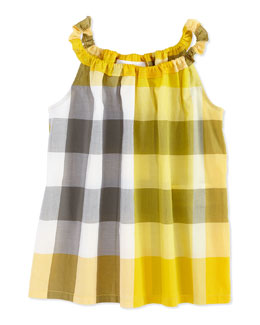 Burberry Check Tank Top, Yellow, Girls' 4Y-10Y
