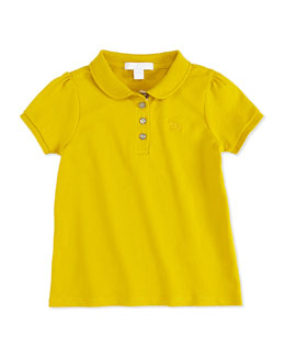 Burberry Girls' Check-Placket Polo, Yellow, 4Y-10Y