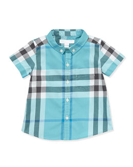 Burberry Short-Sleeve Check Shirt, Turquoise, 3M-3Y