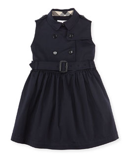 Burberry Sleeveless Trench Dress, Navy, Girls' 4Y-10Y