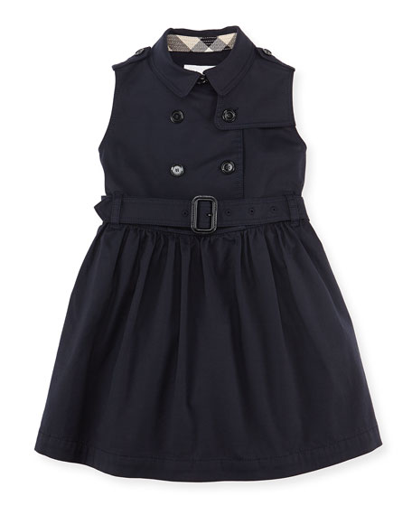 Sleeveless Trench Dress, Navy, Girls' 4Y-10Y