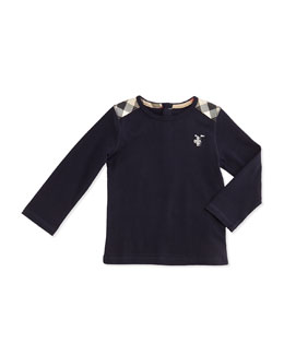 Burberry Check-Shoulder Long-Sleeve Tee, Navy, 3M-18M