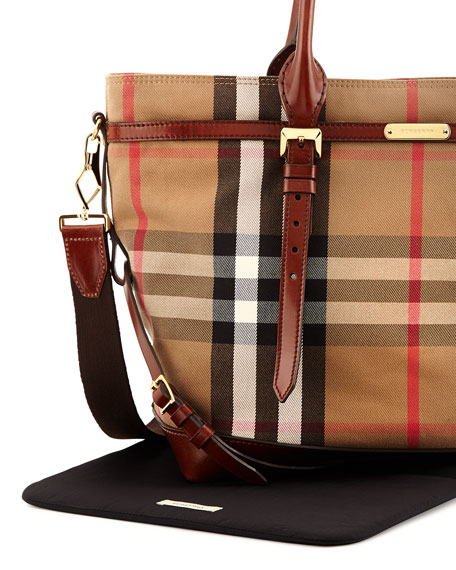 Marta Check Canvas Diaper Bag, Tan