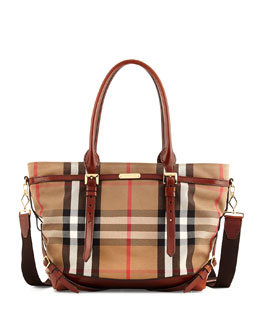 Burberry Check Canvas Diaper Bag, Tan