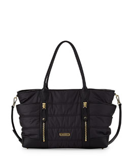Burberry Quilted Nylon Diaper Bag, Black